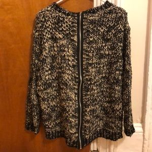 Sweaters - Open Knit Tweed Sweater with Zip Back